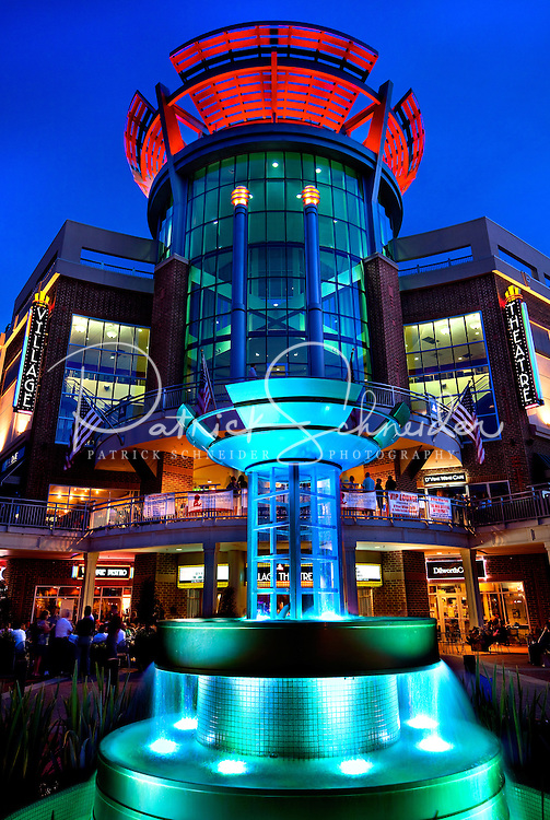 The iconic movie theater marks the entrance to the retail shopping center, Ballantyne Village. Ballantyne Village is located in Ballantyne, a suburban community of Charlotte NC, near the South Carolina border. The 2,000-acre mixed-use development was created by land developer Howard C. Smokey Bissell.