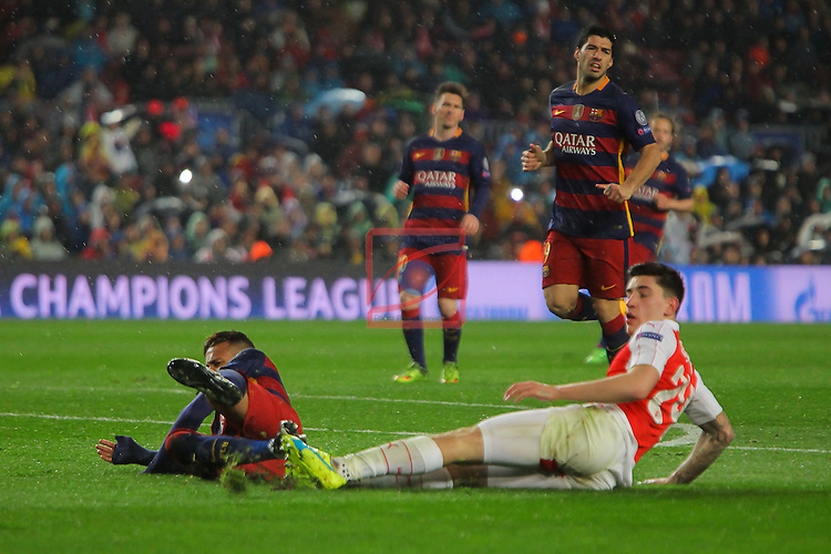 UEFA Champions League 2015-2016.<br /> Round of 16 2nd leg.<br /> FC Barcelona vs Arsenal FC: 3-1.<br /> Hector Bellerin vs Neymar.