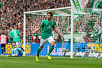 01.09.2019, wohninvest WESERSTADION, Bremen, GER, 1.FBL, Werder Bremen vs FC Augsburg<br /> <br /> DFL REGULATIONS PROHIBIT ANY USE OF PHOTOGRAPHS AS IMAGE SEQUENCES AND/OR QUASI-VIDEO.<br /> <br /> im Bild / picture shows<br /> Jubel 3:2, <br /> Yuya Osako (Werder Bremen #08) bejubelt seinen Treffer zum 3:2, <br /> <br /> Foto © nordphoto / Ewert