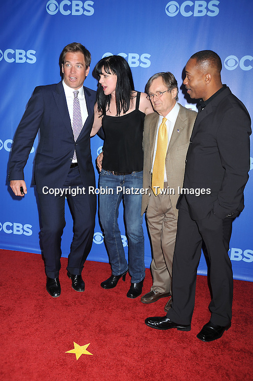 """cast of """"NCIS""""  Michael Weatherly, Pauley Perrette, David McCallum and Rocky Carroll  arriving at The CBS UPfront presentation of their 2010-2011 Fall Season on May 19, 2010 at Lincoln Center."""