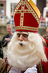 Sinterklass speaks to the children in Utrecht, the Netherlands.