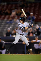 Hudson Valley Renegades shortstop Ford Proctor (7) at bat during a game against the Connecticut Tigers on August 20, 2018 at Dodd Stadium in Norwich, Connecticut.  Hudson Valley defeated Connecticut 3-1.  (Mike Janes/Four Seam Images)