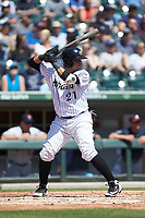 Alfredo Gonzalez (21) of the Charlotte Knights at bat against the Gwinnett Stripers at BB&T BallPark on May 2, 2018 in Charlotte, North Carolina.  The Knights defeated the Stripers 6-5.  (Brian Westerholt/Four Seam Images)