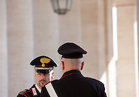 Carabinieri sotto il Colonnato di Piazza San Pietro, prima dell'Angelus di Papa Francesco, Citta' del Vaticano, 15 novembre 2015.<br /> Carabinieri stand under the Colonnade of St. Peter's square prior to the start of Pope Francis' Angelus prayer, at the Vatican, 15 November 2015.<br /> UPDATE IMAGES PRESS/Riccardo De Luca<br /> <br /> STRICTLY ONLY FOR EDITORIAL USE