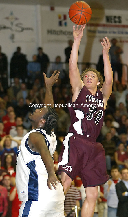 NEW BRITAIN, CT, 03/13/07- 031307BZ12-  Torrington's Ty Kittle (30) takes a fade-away jumper against  Hillhouse's Terrance McKiver (34) during the Class LL semifinal at Central Connecticut State University Tuuesday night.<br /> Jamison C. Bazinet Republican-American