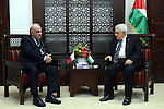 Palestinian President Mahmoud Abbas meets with George Vella, Malta's Minister for Foreign Affairs at Abbas headquarter in the West Bank town of Ramallah, 30 October 2014. Abbas spokesman condemned the closure of the Aqsa Mosque, and called the Israeli decision 'a declaration of war on the Palestinians, Muslims and the Arab world'. Israel Security forces shot and killed 32-year old Palestinian Muataz Hijazi from East Jerusalem suspected in the shooting of right-wing activist Rabbi Yehuda Glick who was seriously wounded in a drive-by shooting late 29 October 2014. Photo by Thaer Ganaim