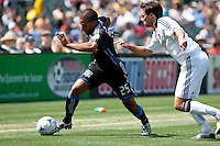 Quincy Amarikwa dribbles the ball. San Jose Earthquakes defeated LA Galaxy 2-1 at the Oakland-Alameda County Coliseum in Oakland, California on June 20, 2009.