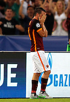 Calcio, Champions League, Gruppo E: Roma vs Barcellona. Roma, stadio Olimpico, 16 settembre 2015.<br /> Roma&rsquo;s Alessandro Florenzi celebrates after scoring during a Champions League, Group E football match between Roma and FC Barcelona, at Rome's Olympic stadium, 16 September 2015.<br /> UPDATE IMAGES PRESS/Riccardo De Luca