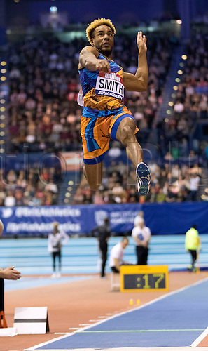 February 18th 2017,  Birmingham, Midlands, England; IAAF The Müller Indoor Grand Prix Athletics meeting; Allan Smith (GBR) competing in the final of the Men's High Jump