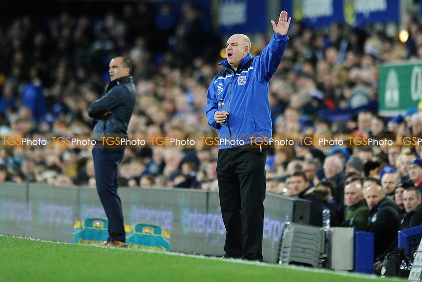 Dagenham and Redbridge manager John Still gestures during Everton vs Dagenham and Redbridge at Goodison Park