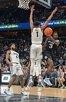 WASHINGTON, DC - JANUARY 28: Kamar Baldwin #3 of Butler sends the ball past Jamorko Pickett #1 of Georgetown during a game between Butler and Georgetown at Capital One Arena on January 28, 2020 in Washington, DC.