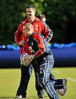 Bagshot, England. England Backs Coach Andy Farrell looks on during the England training session held at Pennyhill Park on November 8, 2012 in Bagshot, England.