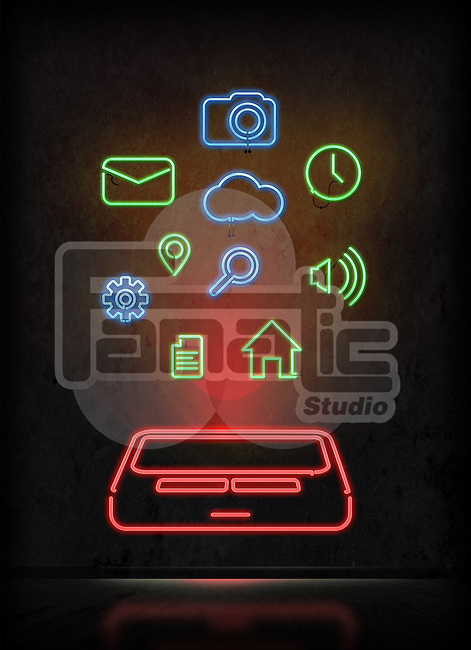 Illustrative image of mobile apps over black background