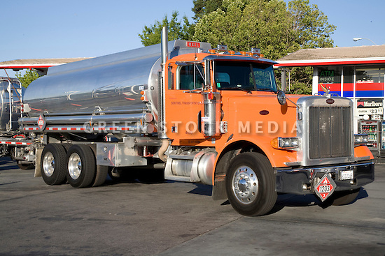 A gas delivery truck at a gas station. Mountain View, California, USA