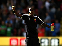 Odion Ighalo of Watford celebrates at the final whistle   during the Barclays Premier League match Watford and Swansea   played at Vicarage Road Stadium , Watford