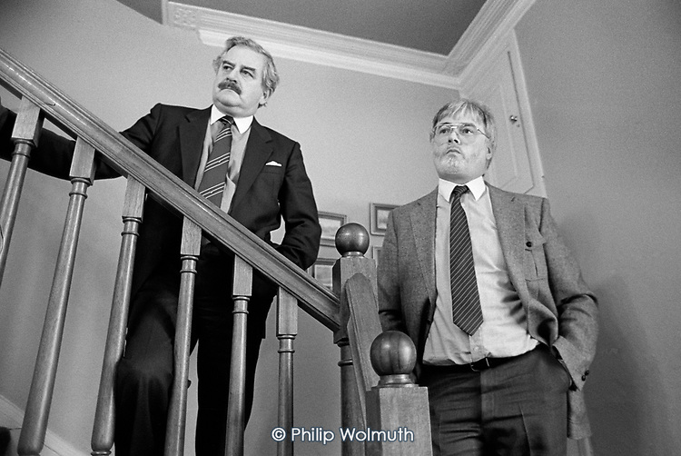 Directors of Project Management International listen to tenants from the Walterton and Elgin Action Group opposed to the sale of their estates to a private developer during a surprise visit to the company's West Drayton head office, 1987.