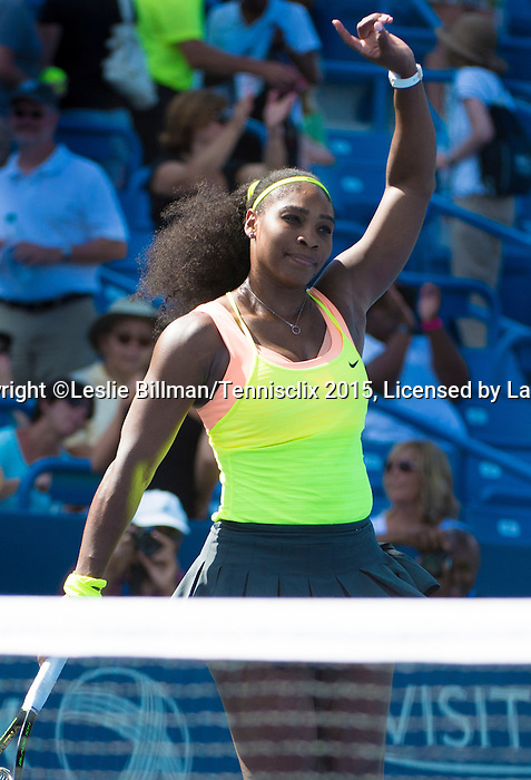 Serena Williams (USA) defeats Karin Knapp (ITA)  6-0, 6-2 at the Western and Southern Open in Mason, OH on August 20, 2015.