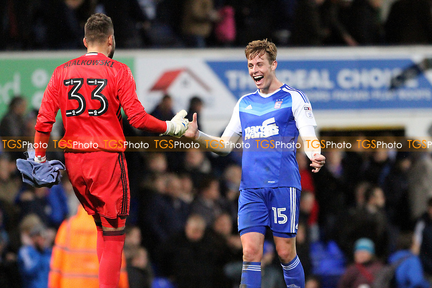 Bartosz Białkowski of Ipswich Town and Adam Webster of Ipswich Town celebrate at full-time during Ipswich Town vs Burton Albion, Sky Bet EFL Championship Football at Portman Road on 18th October 2016
