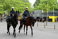 16th May 2020, Signal Iduna Park, Dortmund, Germany; Bundesliga football, Borussia Dortmund versus FC Schalke; Police on horses patrol outside the stadium