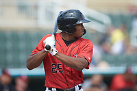 Bryce Bush (25) of the Kannapolis Intimidators at bat against the Lexington Legends at Kannapolis Intimidators Stadium on May 15, 2019 in Kannapolis, North Carolina. The Legends defeated the Intimidators 4-2. (Brian Westerholt/Four Seam Images)