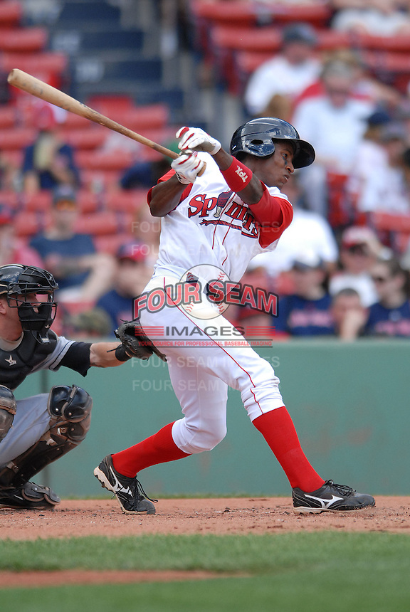 Lowell Spinners OF FELIX SANCHEZ  during a game vs. the Jamestown Jammers at Fenway Park in Boston, Massachusetts on July 10, 2010 Photo By Ken Babbitt/Four Seam Images