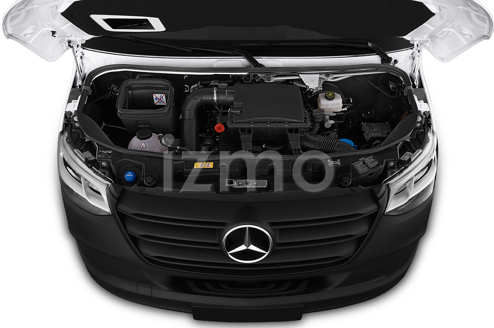 Car stock 2019 Mercedes Benz Sprinter Base 4 Door Combi engine high angle detail view