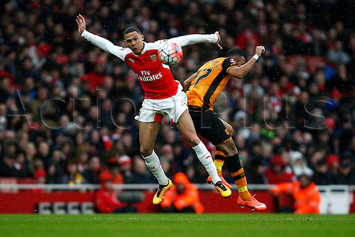 20.02.2016. The Emirates, London, England. Emirates FA Cup 5th Round. Arsenal versus Hull City. Kieran Gibbs of Arsenal and Ahmed Al-Muhammadi of Hull battle for the ball.