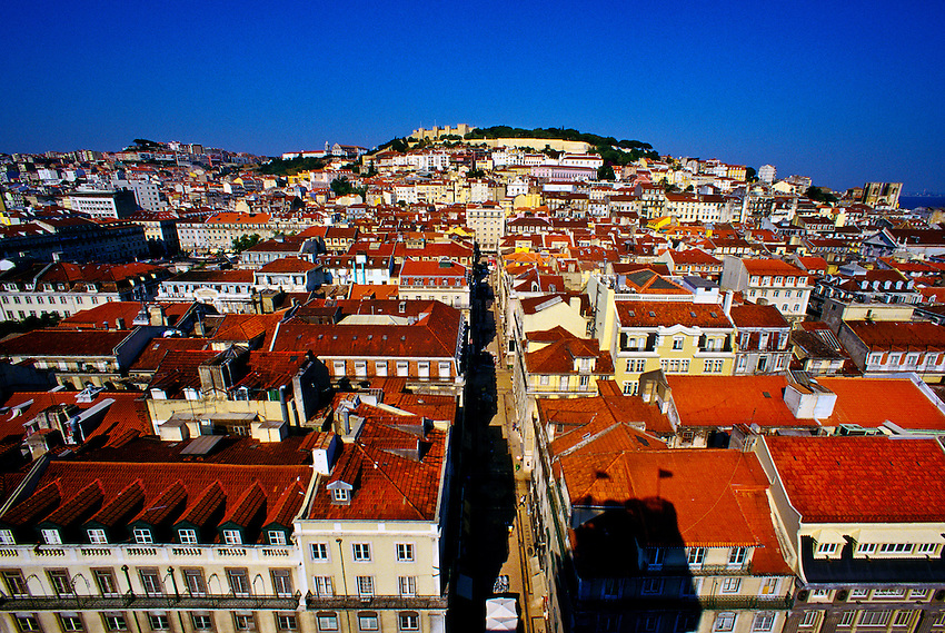 Looking down on Rua de Santa Justa leading toward Castelo de Sao Jorge, Lisbon, Portugal