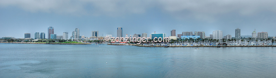Long Beach, Southern California, USA, Shoreline Park, Marina, Waterfront Center, Panorama