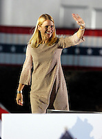 Republican vice presidential nominee Paul Ryan's wife Janna waves to the crowd before a rally of about 1,500 during a campaign stop Thursday evening at the Crutchfield Corporation in Albemarle County, Va.
