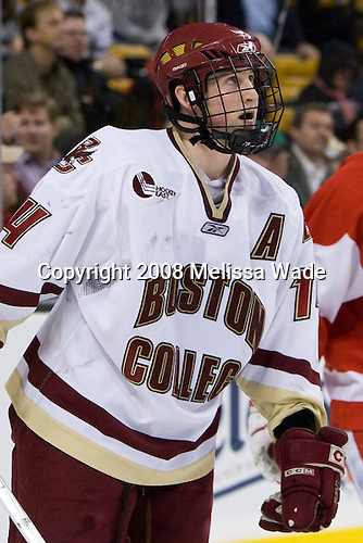 Matt Greene (BC 14) -  The Boston College Eagles defeated the Boston University Terriers 4-3 in overtime in their first Monday Beanpot matchup on February 4, 2008 at the TD Banknorth Garden in Boston, Massachusetts.