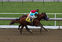 Rafael Bejarano aboard Z Big Apple winning his maiden race at Santa Anita Park in Arcadia, California on October 20, 2012.