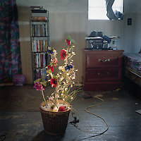 Tracie Verdin's room in the Native American community of Point Aux Chene, Louisiana is pictured at Christmas, with a small tree covered in lights.