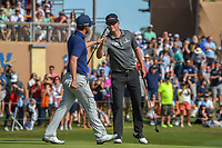 Zach Johnson (USA) fist bumps Andrew Landry (USA) after Landry won the Valero Texas Open, AT&amp;T Oaks Course, TPC San Antonio, San Antonio, Texas, USA. 4/22/2018.<br /> Picture: Golffile | Ken Murray<br /> <br /> <br /> All photo usage must carry mandatory copyright credit (&copy; Golffile | Ken Murray)