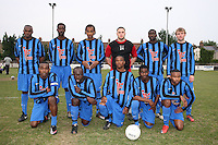 Lapton FC players pose for a team photo - Lapton (blue/black) vs Bancroft United (yellow/white) - Hackney & Leyton League Dickie Davies Cup Final at Waltham Forest FC - 29/04/11 - MANDATORY CREDIT: Gavin Ellis/TGSPHOTO - Self billing applies where appropriate - Tel: 0845 094 6026