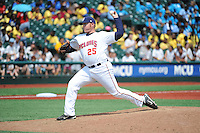 Brooklyn Cyclones pitcher Shane Bay (25) during game against the Williamsport Crosscutters at MCU Park on July 21, 2014 in Brooklyn, NY.  Brooklyn defeated Williamsport  5-2.  (Tomasso DeRosa/Four Seam Images)