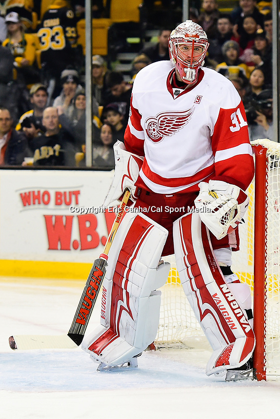 Tuesday, January 24, 2017: Detroit Red Wings goalie Jared Coreau (31) in game action during the National Hockey League game between the Detroit Red Wings and the Boston Bruins held at TD Garden, in Boston, Mass. Boston defeats Detroit 4-3 in overtime. Eric Canha/CSM