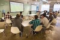 San Francisco, CA - Tuesday, July 1, 2014: (Left to right) Pivotal allowed employees to watch the USA vs. Belgium World Cup Round of 16 game during lunch at Pivotal Lab offices South of Market in San Francisco.