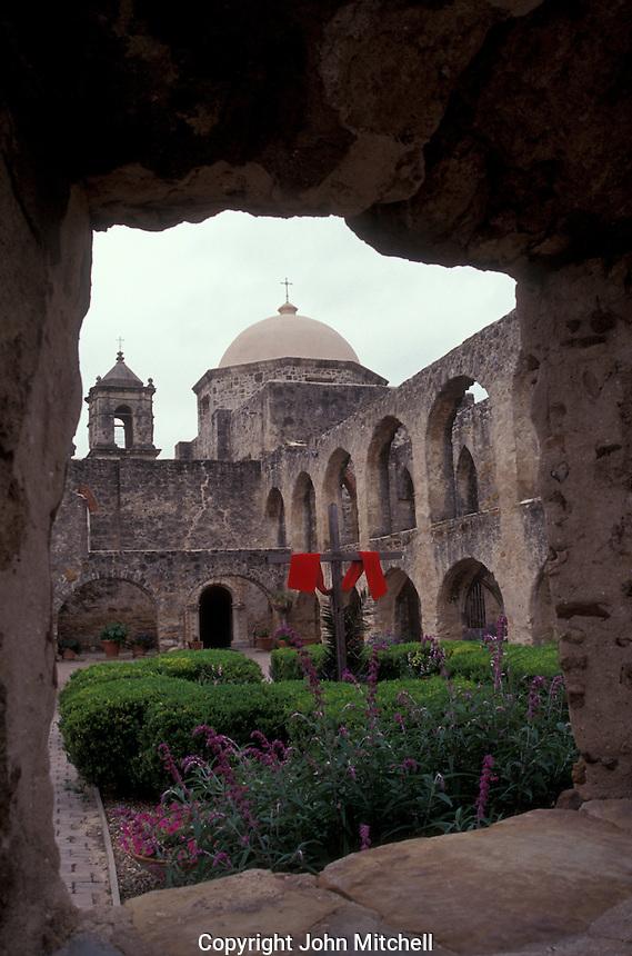 The main cloister of the San Jose Mission near San Antonio, Texas, USA