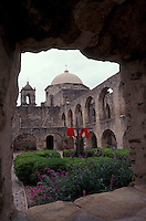 The main cloister of the San Jose Mission near San Antonio, Texas, USA
