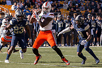 Miami tight end Christopher Herndon IV makes a catch. The Pitt Panthers upset the undefeated Miami Hurricanes 24-14 on November 24, 2017 at Heinz Field, Pittsburgh, Pennsylvania.