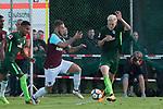 28.07.2017, Sportplatz, Schneverdingen, GER, FSP SV Werder Bremen (GER) vs WestHam United (ENG), <br /> <br /> im Bild<br /> <br /> Marco Arnautovic (WestHam)<br /> #5 Julian Rieckmann (SV Werder Bremen U17)<br /> Foto &copy; nordphoto / Kokenge