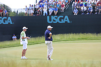 Shane Lowry (IRL) and caddy Dermot Byrne on the 6th green during Saturday's Round 3 of the 117th U.S. Open Championship 2017 held at Erin Hills, Erin, Wisconsin, USA. 17th June 2017.<br /> Picture: Eoin Clarke | Golffile<br /> <br /> <br /> All photos usage must carry mandatory copyright credit (&copy; Golffile | Eoin Clarke)