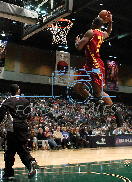 Dominique Johnson, with the Canton Charge, competes in the slam dunk competition during the NBA D-League Showcase at the Reno Events Center, in Reno, Nev., on Wednesday Jan. 9, 2013..Photo by Cathleen Allison