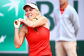 4th June 2017, Roland Garros, Paris, France; French Open tennis championships;   CAROLINE WOZNIACKI (DEN)  during day seven match of the 2017 French Open on June 4, 2017, at Stade Roland-Garros in Paris, France.
