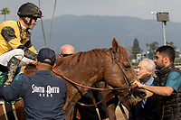 ARCADIA, CA FEBRUARY 10: #5 Kanthaka, ridden by Flavien Prat, receives congratulations from trainer Jerry Hollendorfer after winning the San Vicente Stakes (Grade ll) on February 10, 2018 at Santa Anita Park in Arcadia, CA. (Photo by Casey Phillips/ Eclipse Sportswire/ Getty Images)