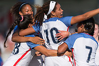 Bradenton, FL - Sunday, June 10, 2018: Mia Fishel, goal celebration prior to a U-17 Women's Championship match between the United States and Haiti at IMG Academy.  USA defeated Haiti 3-2 to advance to the finals.
