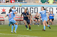 Bridgeview, IL, USA - Sunday, May 29, 2016: Chicago Red Stars midfielder Vanessa DiBernardo (10), Sky Blue FC forward Tasha Kai (32), and Chicago Red Stars defender Katie Naughton (5) during a regular season National Women's Soccer League match between the Chicago Red Stars and Sky Blue FC at Toyota Park. The game ended in a 1-1 tie.