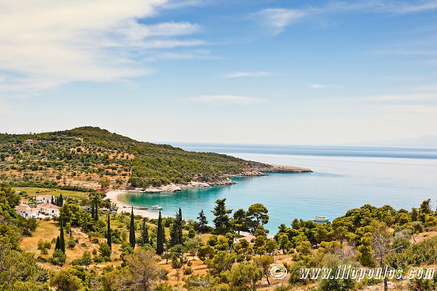 Agioi Anargyri beach in Spetses island, Greece