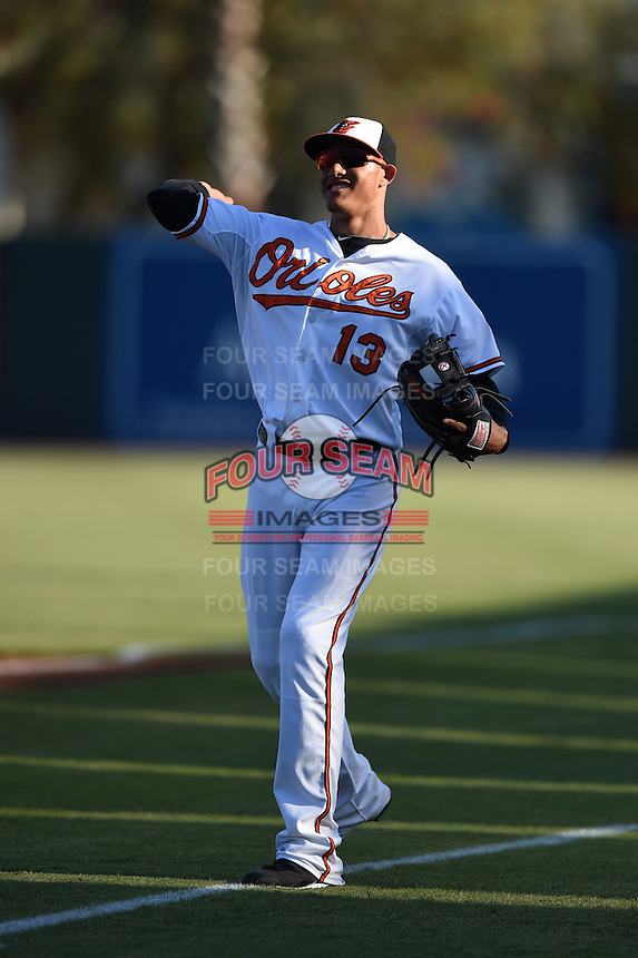 Baltimore Orioles infielder Manny Machado (13) before a Spring Training game against the Atlanta Braves on April 3, 2015 at Ed Smith Stadium in Sarasota, Florida.  Baltimore defeated Atlanta 3-2.  (Mike Janes/Four Seam Images)